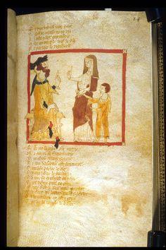 Merlin and mother before vortigen. Egerton 3028. Wace roman de brut.