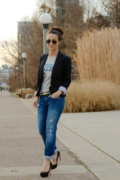 A pair of Gap jeans, a tee, and a blazer as featured on the blog Pretty in Polkadot.