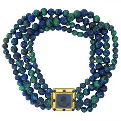Elizabeth Locke Azurmalachite Bead Lapis Intaglio Gold Choker Necklace | From a unique collection of vintage more necklaces at http://www.1stdibs.com/jewelry/necklaces/more-necklaces/