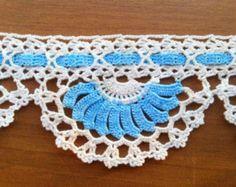 SALE! Towel Edge (Blue and White) - Lace Edge Crocheted Cotton Towel Trim - Crochet Home Decor - Crochet Edge