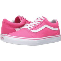 Vans Old Skool ((Canvas) Fandango Pink) Skate Shoes ($55) ❤ liked on Polyvore featuring shoes, vans footwear, lace up shoes, canvas shoes, vans shoes and pink canvas shoes