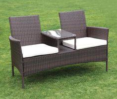Cushioned 2 Seat w Table Rattan Bench Sofa Wicker Outdoor Patio Garden Furniture #SunTimeOutdoor #Traditional
