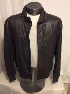 Cordell And Hayes Grey Leather Men's Coat Size 44 #CottrellAndHayes #BasicCoat