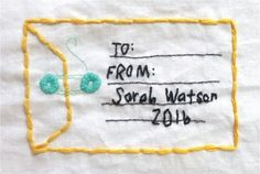 An embroidered quilt label tutorial from Pen to Thread! | Right Sides Together
