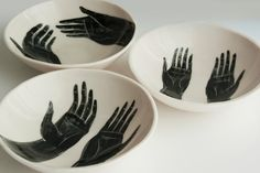 (Porcelain Bowl) OUT OF STOCK Serving bowls created by Farrah Sit and artist Bryce Wymer.Serving bowls created by Farrah Sit and artist Bryce Wymer. Ceramic Bowls, Ceramic Pottery, Ceramic Art, Ceramic Pitcher, Slab Pottery, Ceramic Painting, Keramik Design, Miss Moss, Kitchenware