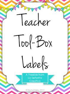 An Organizational Freebie - Teacher Toolbox Labels