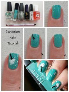 Blue Dandelion Nail Design