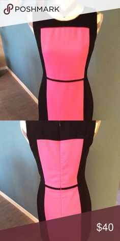 Banana Republic Color Block Sheath Dress, SZ 4 Banana republic pink and black color block sheath dress with a  back zipper Fully ined in very good condition A great dress for the office and after Banana Republic Dresses
