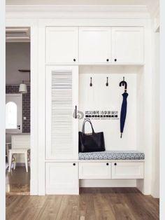 Door storage, shoe cabinet entryway, shoe cabinet design, entryway decor, p Home Design, Entryway Storage Cabinet, Coat And Shoe Storage, Entryway Decor, Entryway Ideas, Interior Design Living Room, Furniture Design, Entrance, Fresh Fresh