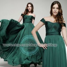 Off the shoulder Dark Green Formal Evening Dress Long Pleated Elegant A Line Prom Dress (except not in this color?)