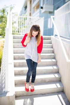 Tips for Styling Sequin Flats Cute baseball sweater, red and gray outfit, dressing up a baseball shirt, outfit tips, fall fashion inspiration