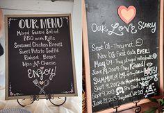 chalkboard #wedding menu | chalkboard #wedding love story (love this!)