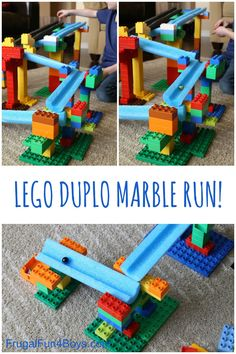 STEM Building Challenge for Kids: Engineer a LEGO and Pool Noodle Marble Run!and tons Lego For Kids, Science For Kids, Lego Activities, Toddler Activities, Marble Tracks, Lego Challenge, Lego Club, Lego Projects, Lego Building