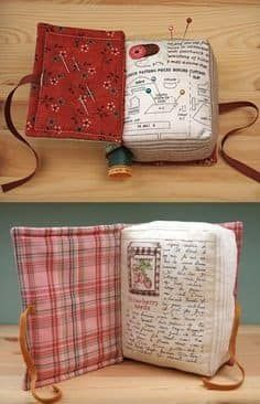 Sewing Hacks, Sewing Crafts, Sewing Projects, Quilt Patterns, Sewing Patterns, Pincushion Patterns, Book Pillow, Quilting, Needle Book