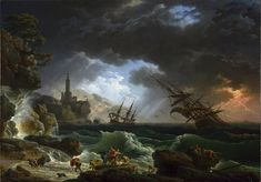 """Claude-Joseph Vernet, """"A Shipwreck in Stormy Seas,"""" The National Gallery of Art, London Costa, Claude Joseph Vernet, Stürmische See, Image Fruit, Google Art Project, National Gallery, Images Vintage, Image Nature, Stormy Sea"""