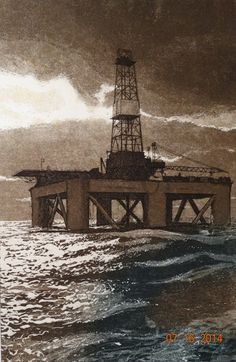 Hey, I found this really awesome Etsy listing at https://www.etsy.com/listing/196885736/vintage-1980s-art-print-oil-well-ocean