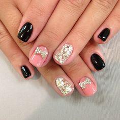 Pink diamonda bows gel blk.