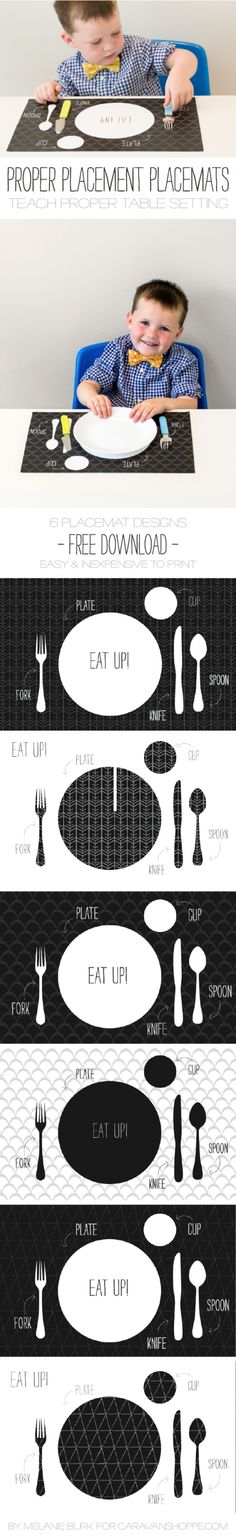 Printable Placemats Print Laminate Kids Learn How To Set