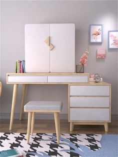 Bedroom Closet Design, Bedroom Furniture Design, Home Room Design, Room Ideas Bedroom, Bedroom Decor, Desk In Bedroom, Bedroom Ideas For Small Rooms, Ikea Girls Bedroom, Small Bedroom Vanity