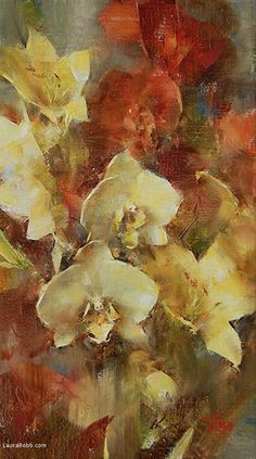 Yellow Orchids and Day Lilies by Laura Robb Oil ~ 14 x 8