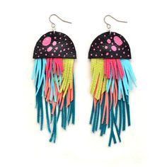 Leather Jellyfish Fringe Earrings   + + +     Boo & Boo Factory