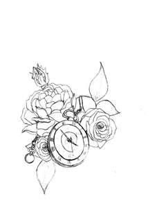 Half sleeve idea: Rose with child's name and watch with the time of birth