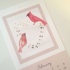 Sneak peek at the free printable calendar page I made for February - available by newsletter via my blog: Creature Comforts