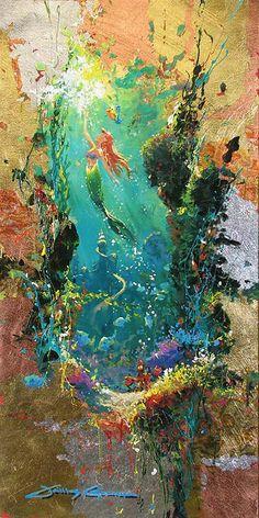 Walt Disney Fine Art - The Little Mermaid Disney Pixar, Disney E Dreamworks, Disney Movies, Disney Dream, Disney Magic, Little Mermaid Painting, The Little Mermaid, Mermaid Artwork, Mermaid Paintings