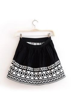 Vintage Geometric Pattern Frilly Skirt [FMCC0179]- US$24.99 - PersunMall.com