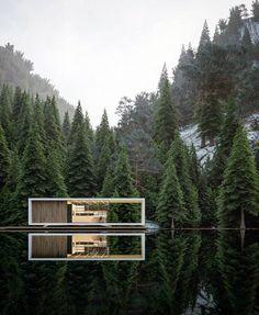 Modernität inmitten der Natur. Cube aus Holz.