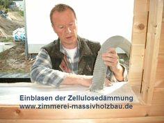 Einblasen der Zellulosedaemmung im Blockhaus, Massivholzhaus in NRW - Köln, Bonn, Siegburg, Lohmar, Leichlingen