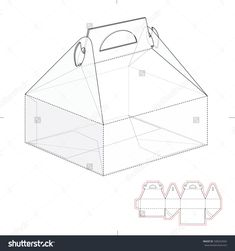 Cake Carrier Box With Die Line Template Ilustración vectorial en stock 328252934 : Shutterstock