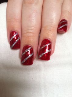 Candy cane/ present nails