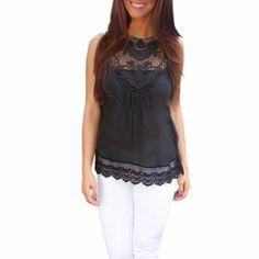 3ee7690d49e79b Beautiful Lace O-Neck Black Top Fashion Black