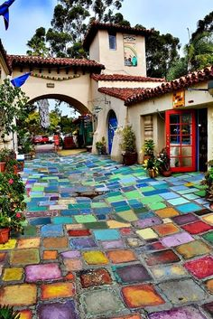 Balboa Park, San Diego — love the colors — reminds me of the Wizard of Oz, looks like a glass/jewel walk way