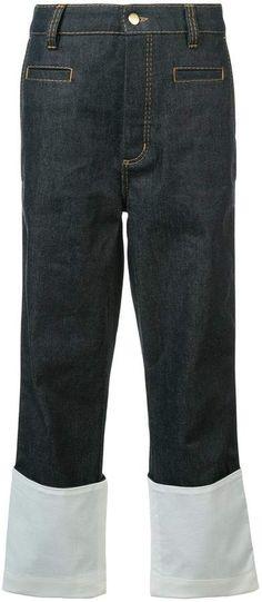 Loewe contrast hem jeans Spanish Fashion, Hem Jeans, Loewe, Cropped Jeans, Bermuda Shorts, Contrast, Bring It On, Fashion Styles, Boys