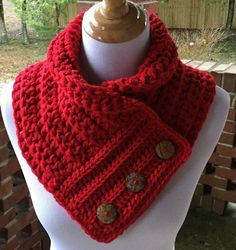 Red Boston Harbor Scarf with Buttons, Handmade crochet cowl, Warm and soft neck warmer in Holly Berry color, Valentine's Day Gift – Knitting Scarf Crochet Cowl Free Pattern, Knitting Patterns Free, Crochet Stitches, Crochet Patterns, Cowl Patterns, Free Knitting, Sock Knitting, Knitting Tutorials, Knitting Machine