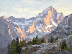 Last Light on Buck Mountain: Original oil landscape painting art of sunset on Buck Mountain in Grand Teton National Park by Prix de West Awa...