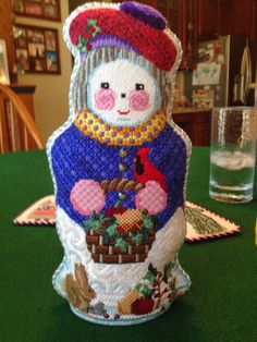 Finished stand-up needlepoint.    steph's stitching, needlepoint snowman stand-up (two-sided)