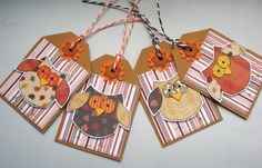 Little Autumn Owls  Set of Four Fall Toned by CraftyMushroomCards, £3.50