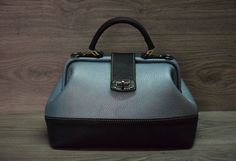 Gray Blue Black Genuine Leather valise handmade by FeltSilkArtGift
