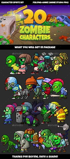 20 Zombies Pack №1 by Muscle-SS | GraphicRiver Free Game Assets, Android Art, Game Background, Ui Inspiration, Halloween Horror, Iphone Mobile, Character Concept, Game Design, The Help