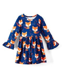 Take a look at this Blue & Orange Fox A-Line Dress - Infant, Toddler & Girls today!