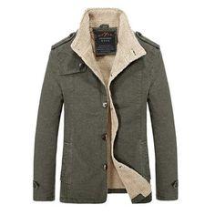 Winter Mens Fashion Plus Size Casual Slim Jacket Thick Warm Solid Color Coat at Banggood