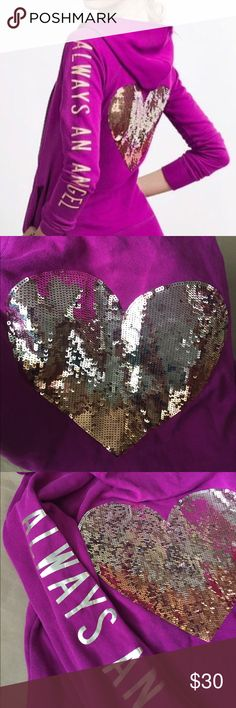 Victoria's Secret Always a Angel sequin Hoodie! VS Purple always Angel Purple sequin Hoodie! Size Small! Gold and bronze sequins on the back! Gold letters down the sleeve! Gently used condition!  24 inches long. Bust measuring across the front 18 inches. Victoria's Secret Tops Sweatshirts & Hoodies