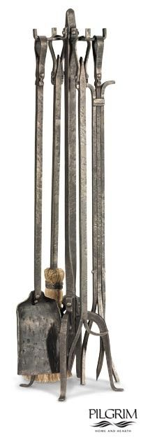 The Old World Tool Set combines function and beauty with hand-forged fireplace tools. The high steel content is evident in its finish and weight. This durable set from Pilgrim will be an heirloom for generations.