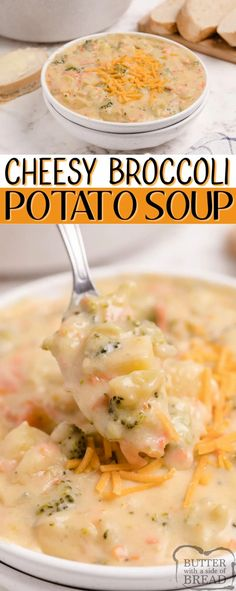 Cheesy Broccoli Potato Soup is creamy, filling and packed with veggies. Delicious potato soup recipe that is easy to prepare and makes for an easy weeknight meal the whole family will love. Chili Recipe From Scratch, Best Chili Recipe, Best Soup Recipes, Chowder Recipes, Chili Recipes, Easy Dinner Recipes, Real Food Recipes, Cooking Recipes, Favorite Recipes