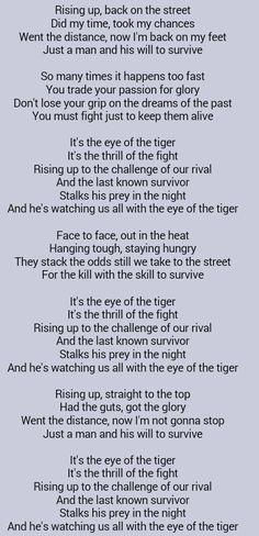 Greatest Song Ever ..... Survivor . Eye of the Tiger