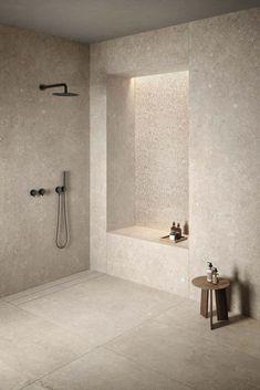 Le Reverse - Kronos Ceramiche - Floor coverings in porcelain stoneware. Bad Inspiration, Bathroom Design Inspiration, Interior Inspiration, Bathroom Design Luxury, Modern Bathroom, Laundry In Bathroom, Master Bathroom, Shower Bathroom, Beige Bathroom