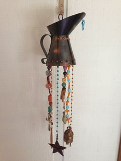 Rustic Southern Style Windchime   Upcycle from a tin water pitcher.